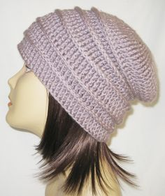"ribbed slouch,beanie,hat,cap,slouch,hand crochet, unisex fits teens and adults 21-23"" inches Lavender Grey by Jeniebugs on Etsy"