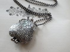 Pill Box Locket Necklace Antique Silver Pill by PeculiarCollective