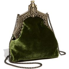 House Of Harlow 1960 'rey' Velvet Pouch (270 BAM) ❤ liked on Polyvore featuring bags, handbags, clutches, purses, accessories, women, pouch purse, velvet handbag, green handbags and green purse