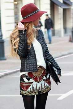 Edgy quilted leather jacket, sexy sequin mini, white knit sweater, black tights & oxblood wide brim. Cute & stylish for winter.
