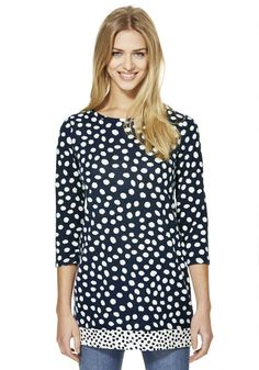 Clothing at Tesco | F&F Spot 3/4 Length Sleeve Knitted Tunic > tops > Tops & T-Shirts > Women