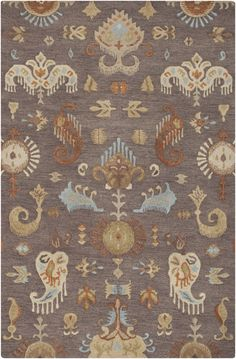 Surya Sprout Ikat and Suzani Area Rug Neutral, Orange