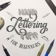 This Hand Lettering for Beginners Guide will give you 5 tips for getting started, from choosing materials to producing a finished piece. Lettering Brush, Hand Lettering 101, Hand Lettering For Beginners, Hand Lettering Tutorial, Creative Lettering, Lettering Design, Lettering Ideas, January Lettering, Bullet Journal Hand Lettering