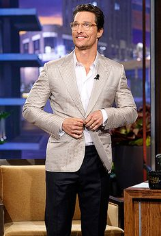 Alright, alright, alright! Matthew McConaughey wears classy eyeglasses on The Tonight Show with Jay Leno on Feb. 4