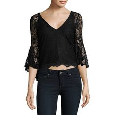 Highline Collective V-Neck Lace Cropped Top ($41) ❤ liked on Polyvore featuring tops, black, 3/4 sleeve tops, ruffle top, bohemian tops, v neck 3 4 sleeve top and v neck crop top
