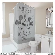 Mickey & Minnie Shower curtain, would look great in a vintage style Disney bathroom. Minnie Mouse, Cocina Mickey Mouse, Mickey Y Minnie, Disney Mickey, Bathroom Kids, Small Bathroom, Kids Bath, Master Bathroom, Kid Bathrooms