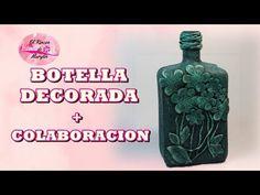 BOTELLA DECORADA CON FLORES DE GOMA EVA + COLABORACION - YouTube Bottle Vase, Vodka Bottle, Ideas Paso A Paso, Diy Glasses, Mixed Media, Container, Youtube, Battle, Decoration