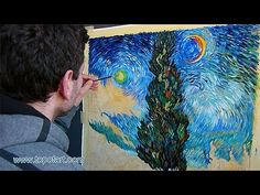 ▶ Art Reproduction (van Gogh - Road with Cypress and Star) Hand-Painted Step by Step - YouTube