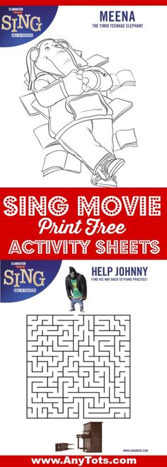 SING movie FREE Printable Activity Sheets. Sing Coloring Pages, Maze, etc. Plus check out SIng Movie Party Ideas Or Sing Movie Night Ideas and enter for a chance to win SING in Blu-ray or DVD. www.anytots.com
