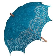Aqua Battenburg Lace Parasol