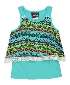 Another great find on #zulily! Sea Foam Geometric Layer Tank - Kids #zulilyfinds