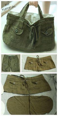 DIY Recycled Short Bag Kostenloses Tutorial, clothes no sewing jeans DIY Recycled Short Bag Kostenloses Tutorial Diy Jeans, Sewing Tutorials, Sewing Hacks, Sewing Projects, Sewing Tips, Free Sewing, Crochet Projects, Diy Projects, Denim Crafts