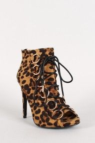 Dollhouse Orbit Leopard Lace Up Open Toe Ankle Bootie...looking for this one now.
