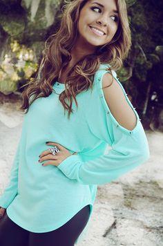 Studded open shoulder sweater