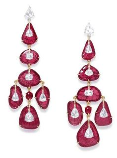 Ruby earrings in pink and white gold with diaminds from the Glenn Spiro G London collection.
