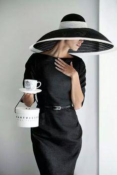 / morning coffee / big black hat / wide brimmed /