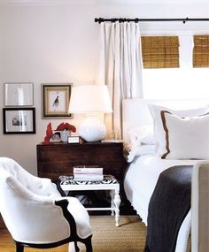 White curtain with rings Bedroom, black and white -- love the bamboo shades. by Ashley Haley for Real Living Magazine ~~~ Pretty Bedroom, Dream Bedroom, Home Bedroom, Master Bedroom, Bedroom Decor, Design Bedroom, Gothic Bedroom, Bedroom Setup, Light Bedroom
