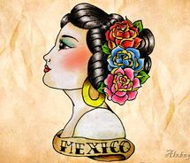 Mexico lady Cowgirl tattoo