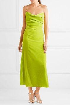 Michael Lo Sordo - Caroline Open-back Velvet Midi Dress - Bright green - UK