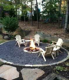 like the firepit with stone circle and brick border