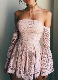 Off Shoulder Long Sleeves Pink Short prom dresses,Homecoming dresses
