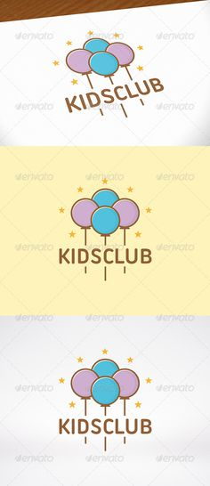 Kids Party Logo Template — Vector EPS #internet #grow • Available here → https://graphicriver.net/item/kids-party-logo-template/7973955?ref=pxcr