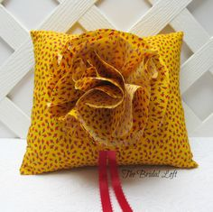 Yellow Wedding Ring Pillow, Red Yellow Black Ring Bearer Pillow, Matching Items Available, by BridalLoft, on Etsy