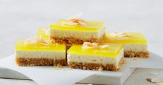 We've turned your favourite coconut and pineapple cocktail into a layered cheesecake jelly slice.