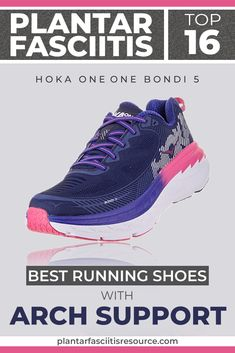 These are all the highest rated shoes for those suffering from plantar fasciitis. And Hoka One One now makes an appearance on the list. Not everyone likes stiff arch support!Hoka One One has the answer to that. Plantar Fasciitis Exercises, Plantar Fasciitis Shoes, Running With Plantar Fasciitis, Top Running Shoes, Running Sneakers, Running Gear, Trail Running, Shoes For High Arches, Best Workout Shoes