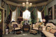 Victorian parlor, from Victorian Home Magazine.