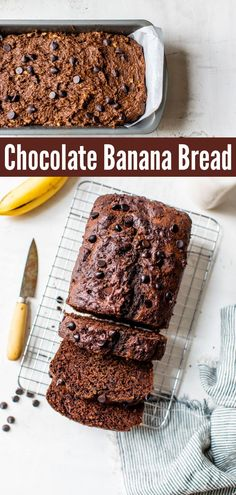 Satisfy your breakfast cravings with healthy double chocolate banana bread. It's so moist with Greek yogurt. Chocolate chips add decadence!#bananabread #breakfast #greekyogurt #wellplated Desserts With Chocolate Chips, Chocolate Banana Muffins, Healthy Chocolate, Chocolate Flavors, Chocolate Chip Cookies, Healthy Banana Bread, Banana Bread Recipes, Chips Calories, Greek Yogurt Recipes