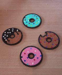 "Dessous de verre, collection ""donut"", par 4 en perles hama"
