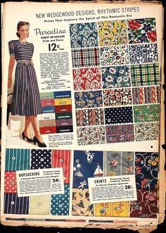 1930s vintage fabrics. Sailing and silhouettes.