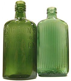 Vintage green Gordon's special dry London gin bottles