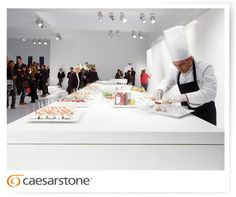 Food preparations with top chefs on Caesarstone kitchen countertop
