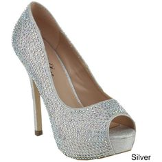 Bella Luna Women s Glitter Rhinestone Platform Peep-Toe Stiletto Heels     New and awesome product awaits you a3cb4a25ad48
