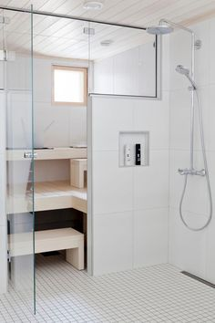 Minimalistic bathroom and sauna. Sauna Steam Room, Sauna Room, Decoration Inspiration, Bathroom Inspiration, Bathroom Ideas, Saunas, Upstairs Bathrooms, Dream Bathrooms, Mini Sauna