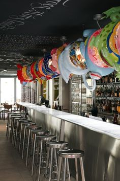 Nice use of swimming gear for whimsical decoration (Phillippe Starck's  Mama Shelter Hotel, Marseille)