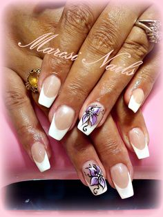 French nails, flower nail art