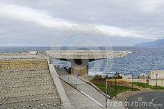 Empty helicopter platform in small city Porto Moniz on Madeira Island , Portugal