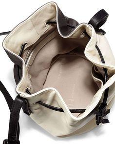 Colorblock Drawstring Bucket Bag, Bone