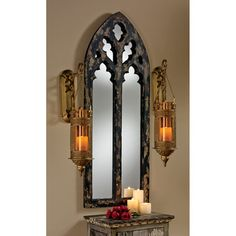 Channel classic architecture with the Design Toscano Gothic Cathedral Arch Mirror - x in. This gorgeous piece was inspired by the windows of medieval Europe and adds a special quality to your interior space. Gothic Room, Gothic Home Decor, Gothic House, Gothic Castle, Medieval Home Decor, Medieval Bedroom, Victorian Bedroom, Victorian Curtains, Arts And Crafts