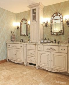 Decorative mirrors in bath addition by Martin Bros. Contracting, Inc.