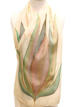 Wedding Silk Scarf Hand Painted in Green and Ivory Colors With   Etsy
