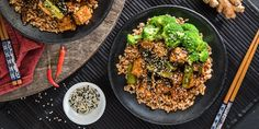 General Tso's Tofu with Farro and Steamed Broccoli