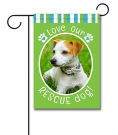 """Rescue Dog Green Photo Garden Flag: Flag Size: 12.5"""" x 18"""" Flag stand sold separately Proudly Printed in the USA Vibrant colors printed on a poly/cotton outdoor quality fabric. Digitally print"""