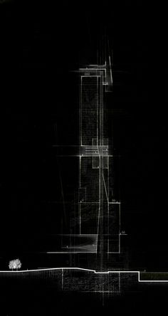 """Erick McGartland, USF School of Architecture, Class of 2016 >>> Adv. Design B: """"Imagining Chicago"""" - Summer 2014, Professor Martin Gundersen Conceptual section analysis of a tower in Chicago"""