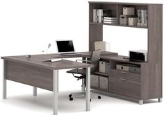 U shaped desk will work perfect for office to enjoy the view out the window