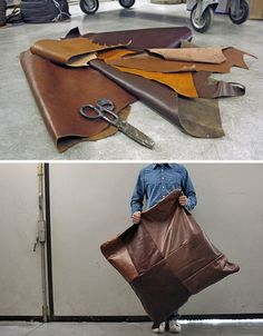 Sectional upcycling: from old shoes to sofa cushions! These franken-style upcycled leather products will add antiquity and uniquity to your home, and your heart!