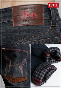 Edwin Jeans, Mood Indigo, Leather Label, Japanese Denim, Denim Branding, Raw Denim, Denim Fashion, Jeans Style, Blue Jeans